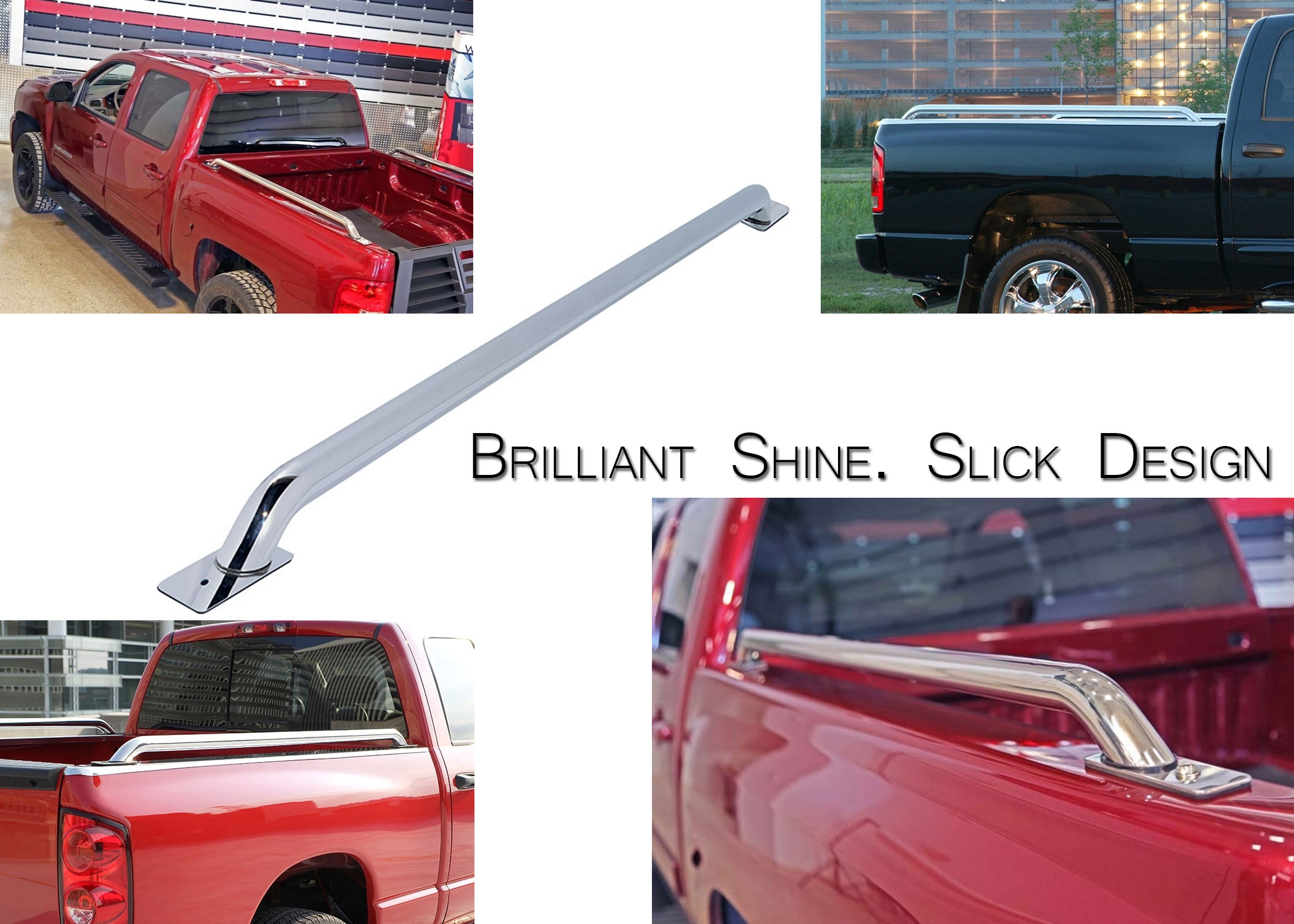 Truck Bed Side Rails Stainless Steel and Black