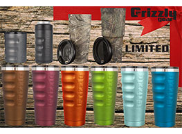 Grizzly Coolers tumblers and coolers color